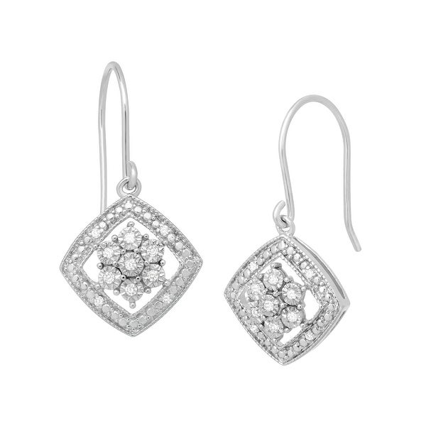 1/10 ct Diamond Tile Drop Earrings in Sterling Silver