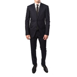 Gucci Men Solid Two-Piece 100% Wool Suit Navy
