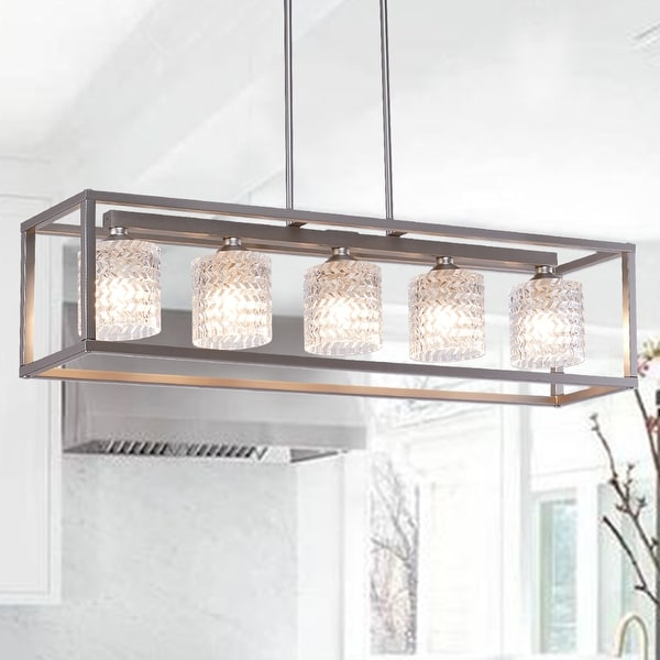 "Porch & Den Savoy Cut Crystal 5-light Linear Chandelier - 36 x 8 x 8"". Opens flyout."