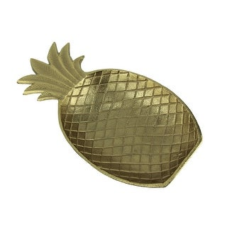Metallic Gold Metal Tropical Pineapple Decorative Dish - 2 X 14.75 X 7.5 inches