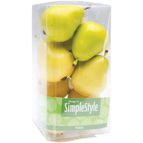 Design It Simple Decorative Fruit 9/Pkg-Yellow & Green Pears - YELLOW