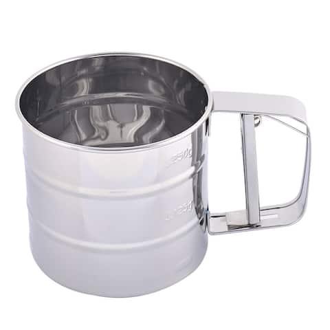 "Metal Trigger Handle Sugar Flour Sifter Mesh Shaker Strainer 250ml - 5.9"" x 4.1"" x 3.7''(L*W*H)"