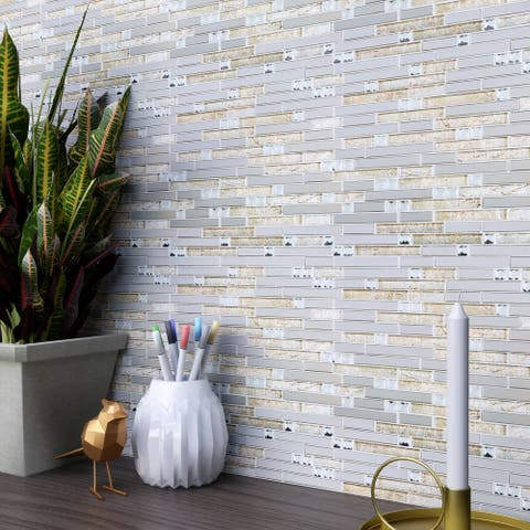 TileGen. Crystal Diamond Random Sized Metal and Glass Mosaic Tile in Gold/Silver Wall Tile (10 sheets/9.6sqft.)
