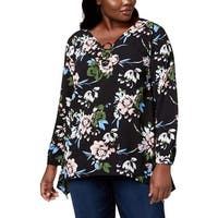 NY Collection Black Women 1X Plus Floral Ring-Hardware Blouse