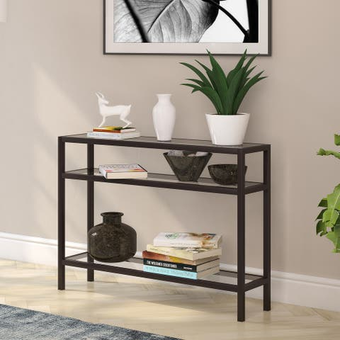 Sivil Rectangular Contemporary Metal/Glass Console Table in Blackened Bronze