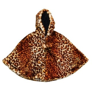 Girls Brown Leopard Faux Fur Poncho 7-12