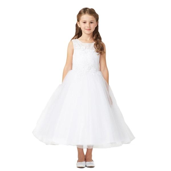 ba99448c5c Shop Tip Top Kids Girls White Diagonal Embroidery Junior Bridesmaid ...