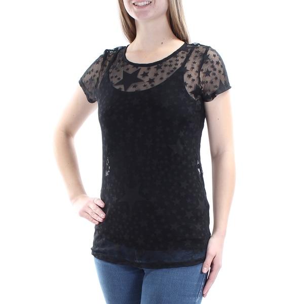 9d0e7e443792 Shop INC $49 Womens New 1256 Black Stars Sheer W/cami Short Sleeve Top M  B+B - Free Shipping On Orders Over $45 - Overstock.com - 21266538