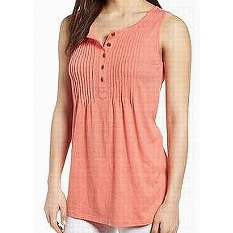 Caslon Pink Pintucked Buttoned Women's Small S Tank Cami Knit Top