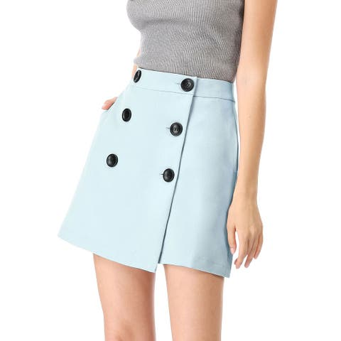 Women's High Waist A-line Above Knee Button Up Skirt