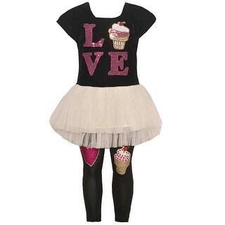 """Little Girls Black """"Love"""" Cupcake Detail Skirted Tunic 2 Pc Legging Set"""