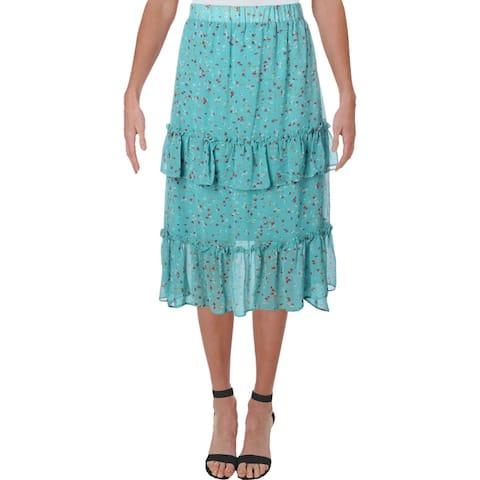 Aqua Womens Ditsy Maxi Skirt Floral Print Ruffle - Aqua Multi