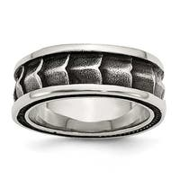 Chisel Stainless Steel Polished and Antiqued 9mm Band