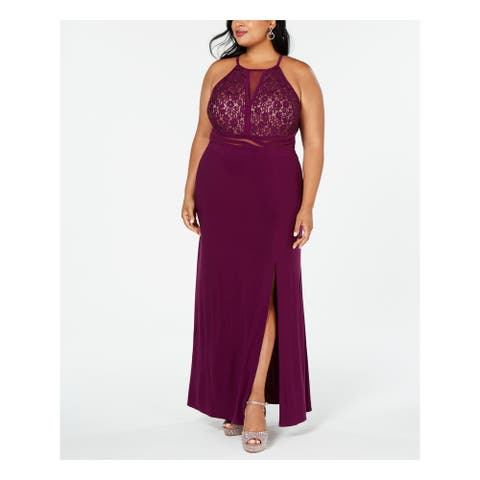 R&M RICHARDS Purple Sleeveless Full-Length Dress 14W