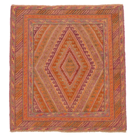 ECARPETGALLERY Hand-knotted Tajik Caucasian Burnt Orange Wool Rug - 3'10 x 4'2