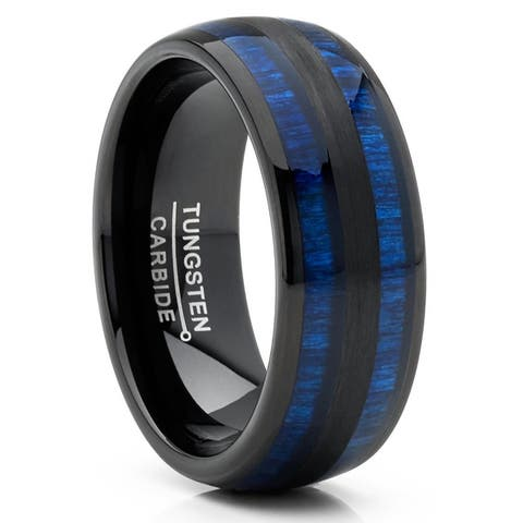 Oliveti Men's Tungsten Carbide Ring Dome Real Blue Wood Inlay Wedding Band 8MM