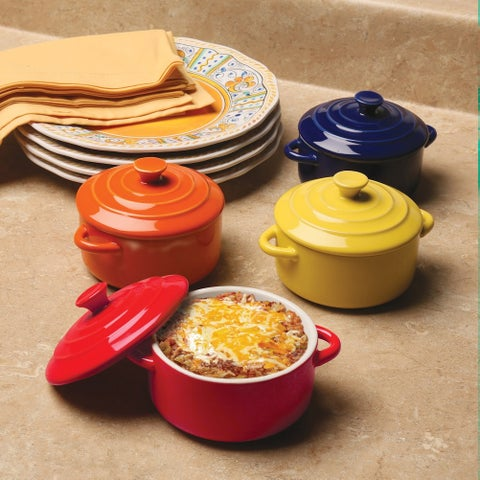 Multi Colored Mini Casserole Pots - Set of 4 - 8-ounce Stoneware Dishes - 9 in. x 9 in. x 4 in.