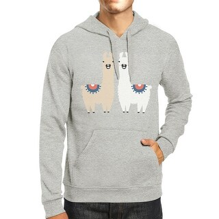 Llama Pattern Mens/Unisex Grey Pullover Fleece Hoodie