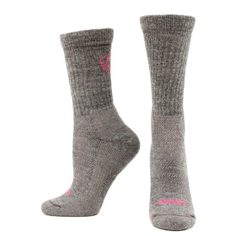 Ariat Western Socks Womens Merino Hiker Mid Weight M Gray