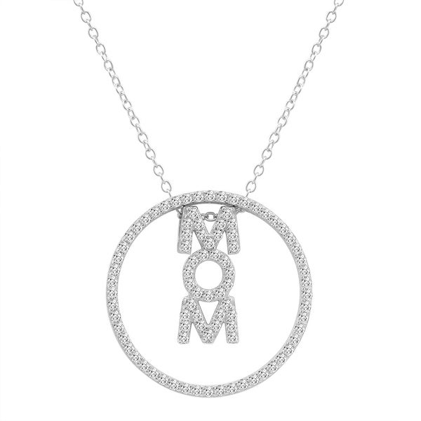 Amanda Rose 3-in-1 CZ Mom Pendant-Necklace in Sterling Silver on a 18 in. Chain