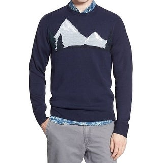 1901 NORDSTROM NEW Blue Mens Size 2XL Mountain Graphic Crewneck Sweater