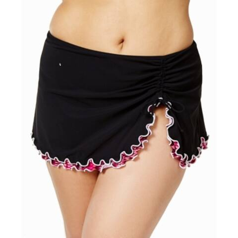 Profile by Gottex Plus Women's Printed-Ruffle Swim Skirt, Black, 22W