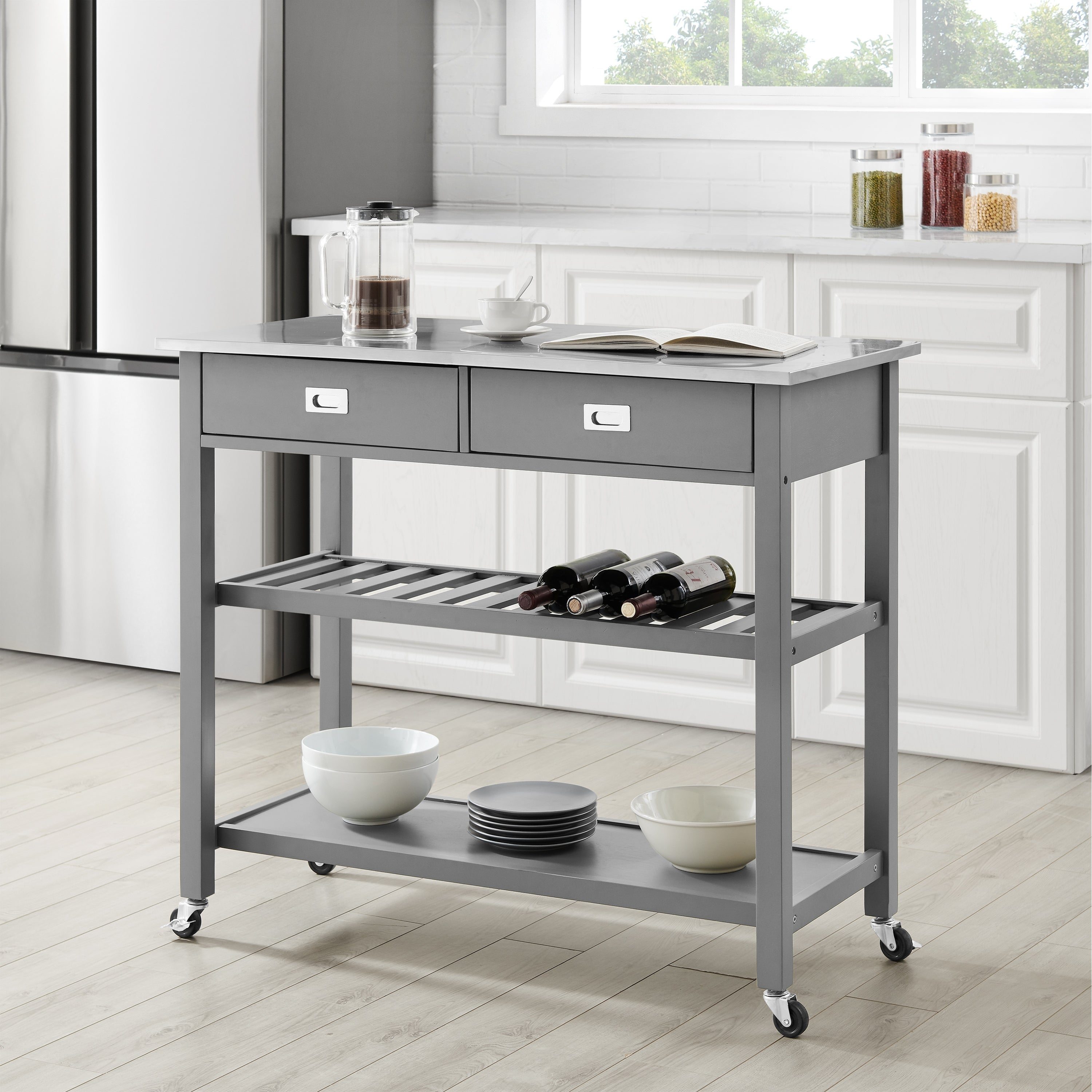 Chloe Stainless Steel Top Kitchen Island Cart 37 H X 42 W X 20 D On Sale Overstock 31104174
