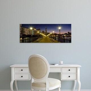 Easy Art Prints Panoramic Image 'Buildings lit up at night, Transamerica Pyramid, San Francisco, California' Canvas Art