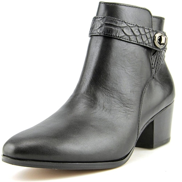 Coach Patricia Women Round Toe Leather Black Ankle Boot
