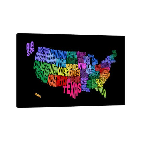 """iCanvas """"USA (States) Typographic Map III"""" by Michael Tompsett Canvas Print"""