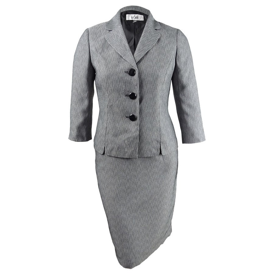 Le Suit Womens Three-Button Printed Skirt Suit - Black/White
