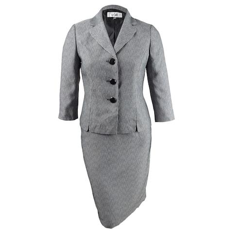 Le Suit Women's Three-Button Printed Skirt Suit - Black/White