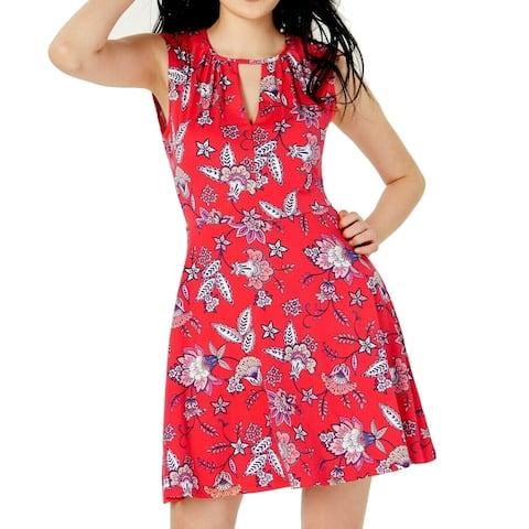 Bebop Red Size XS Junior Skater Dress Floral Keyhole Tie Back Jersey