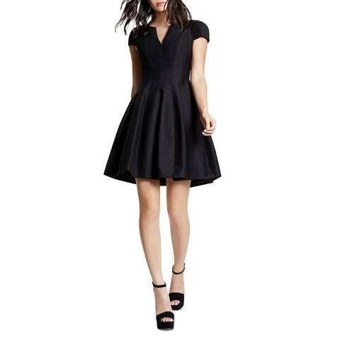 Halston Heritage Womens Cocktail Dress Woven Split Neck - Black