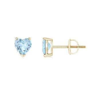 Angara Three Prong-Set Solitaire Aquamarine Heart Stud Earrings