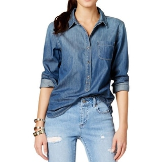 Two by Vince Camuto Womens Denim Shirt Denim Button Down