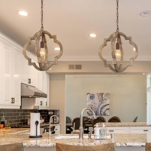 "Modern Farmhouse Wood Lantern Islands Pendant Lights for Dining Room - D 16""x H 17.5"""