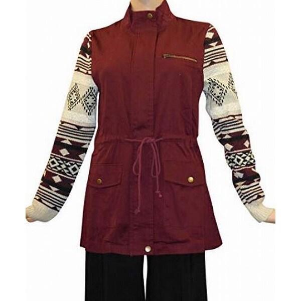 Blu Pepper Women's Medium Geo-Knit Drawstring Zip Jacket