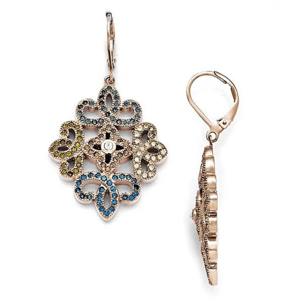 Chisel Stainless Steel Polished Rose IP-Plated Crystal Lever back Earrings
