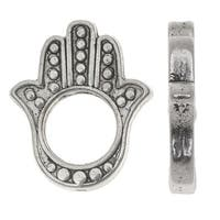 Lead-Free Pewter, Hamsa Hand Beads 16.5x20mm, 4 Pieces, Antiqued Silver