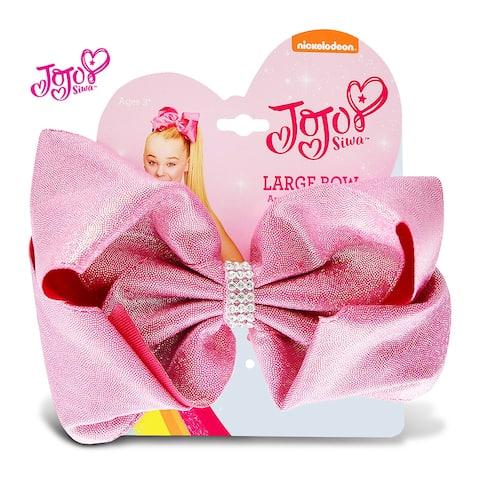 "Jojo Siwa Pink Glitter Ponytail Bow On Elastic Hair Band 7""x5"""