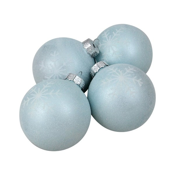 "4ct Blue and Silver Snowflake Glass Christmas Ball Ornaments 3"" (80mm)"