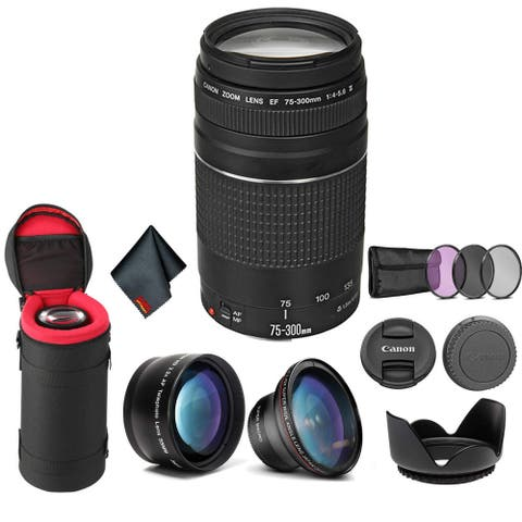Canon EF 75-300mm f/4-5.6 III Telephoto Zoom Lens 6473A003 Bundle - Pro