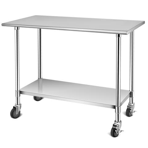 Costway 36'' x 24''48'' x 24'' NSF Stainless Steel Commercial Kitchen Prep & Work Table w/ 4 Casters