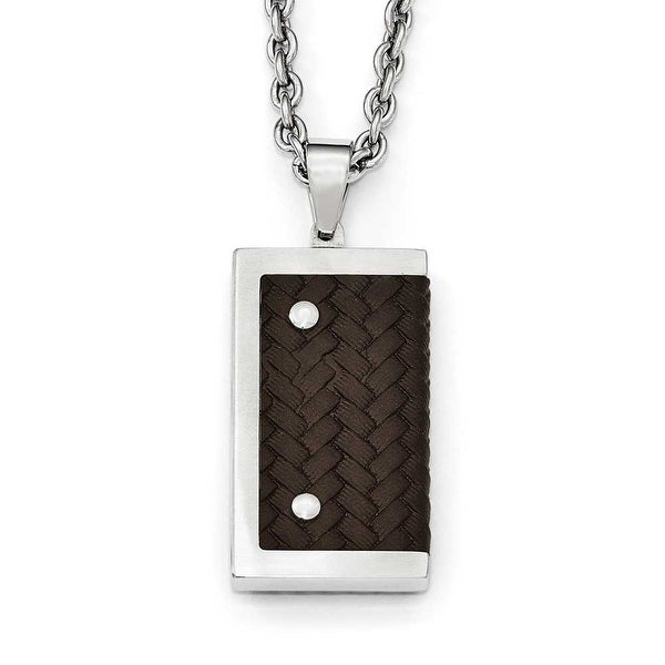 Chisel Stainless Steel Reversible Brushed & Polished with Brown Leather Necklace - 24 in