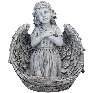 """16"""" Decorative Angel Child Wrapped in Wings Religious Outdoor Garden Statue"""