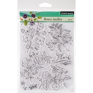 "Penny Black Clear Stamps 5""X7""-Flower Medley"