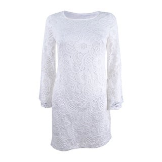 Signature by Robbie Bee Women's Petite Long Sleeve Embroidered Dress - Ivory