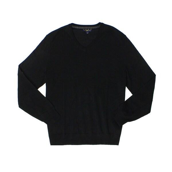 Club Room NEW Black Mens 3XL Merino-Wool V-Neck Long-Sleeve Sweater