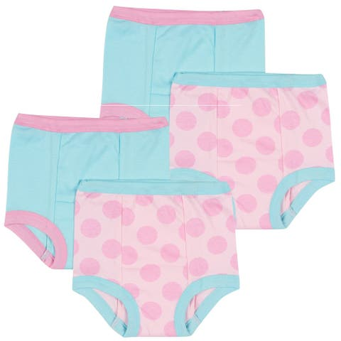 Gerber Toddler Girl 4 Pack Training Pants, Blue/Pink Dots, 2T
